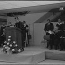 University president Dr. Richard R. Bond speaks during Michener Library dedication, 1972