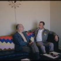 """Mr. Yarrington"" speaks with James A. Michener in Sterling, Colorado"