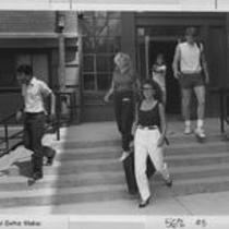 Students exiting Kepner Hall, 1970s