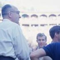 James A. Michener in a stadium