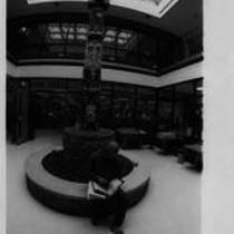 Totem Teddy in the University Center first floor, ca. 1980s?