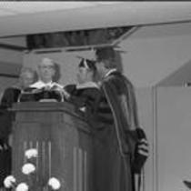 James A. Michener receiving an honorary degree at Michener Library dedication, 1972