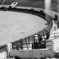 James A. Michener in an empty stadium