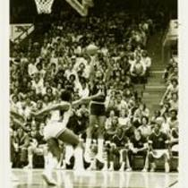 University of Northern Colorado basketball action shot, ca. 1980s.