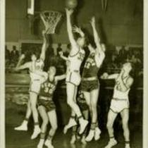Colorado State College vs. University of Denver basketball game, ca. 1950s.
