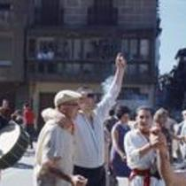 James A. Michener with an unidentified man and John Fulton on a Pamplona street, ca 1960s