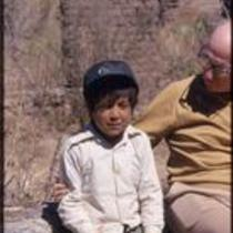 James A. Michener with young boy, Cusihuiriachi, Chihuahua, Mexico