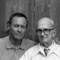 James A. Michener posing with Robert Vavra, ca. 1990s