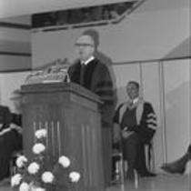 James A. Michener speaks at the dedication of Michener Library, 1972