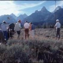 Film crew preparing for James Michener shoot, Grand Teton National Park, Wyoming, 1977