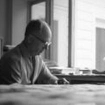 James A. Michener at home, 1967