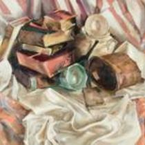 Still Life with Chintz and Books by Joelleyn Duesberry