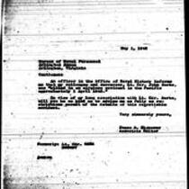 1946-05-01 Letter from James A. Michener to Bureau of Naval Personnel