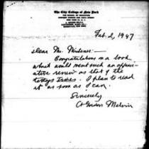 1947-02-02 Letter from A. Gordon Melvin to James A. Michener