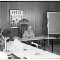 James A. Michener speaks to a group in the University Center's Council Room, ca. 1972