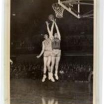 Colorado State College basketball game action shot, ca. 1950s.