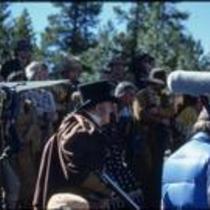 """Gentleman"" John Kings, film crew, and extras, Estes Park, Colorado, 1978"